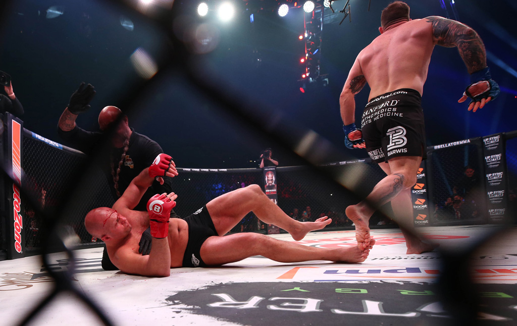 Jan 26, 2019; Los Angeles, CA, USA; Ryan Bader (blue gloves) defeats Fedor Emelianenko (red gloves) during Bellator 214 at The Forum. Mandatory Credit: Dave Mandel-USA TODAY Sports - 12064297